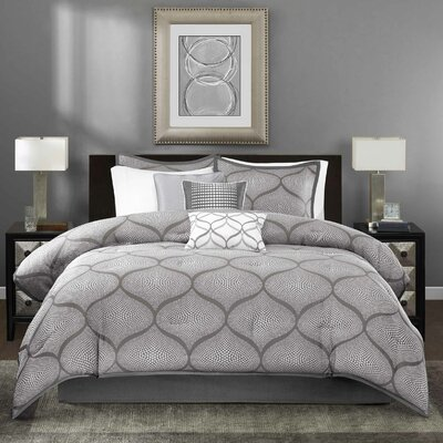 Riddell 7 Piece Comforter Set Size: King, Color: Gray