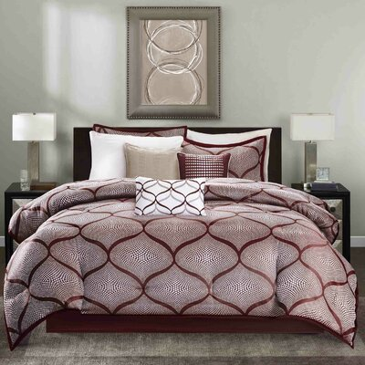 Riddell 7 Piece Comforter Set Size: King, Color: Red