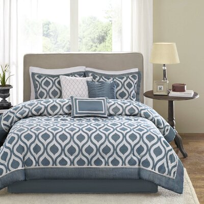 Stingley 7 Piece Comforter Set Color: Blue, Size: King