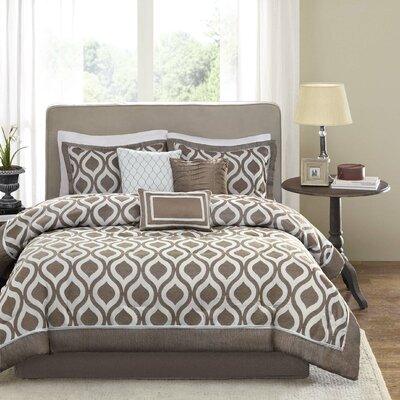 Stingley 7 Piece Comforter Set Size: King, Color: Taupe