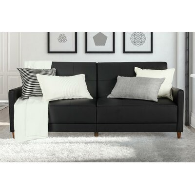 Midtown Faux Leather Convertible Sofa Upholstery: Black