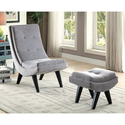 Northerly Curved Lounge Chair and Ottoman Color: Gray