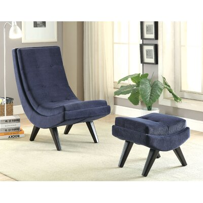 Northerly Curved Lounge Chair and Ottoman Color: Navy