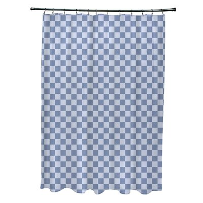 Delany Geometric Shower Curtain Color: Light Blue