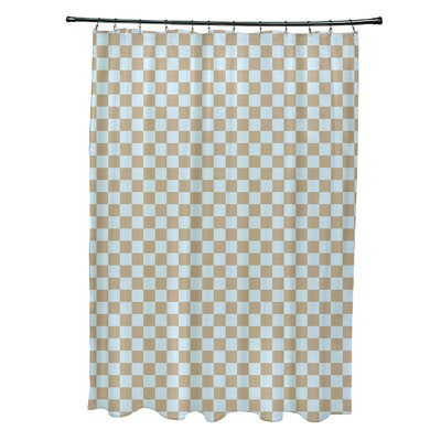 Delany Geometric Shower Curtain Color: Beige/Blue