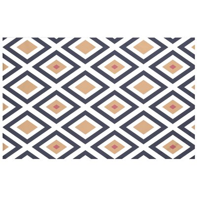 Elson Geometric Print Throw Blanket Size: 60 L x 50 W, Color: Caramel (Navy Blue/Brown)