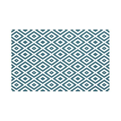 Elson Geometric Print Throw Blanket Size: 60 L x 50 W, Color: Deep Sea (Teal/Off White)