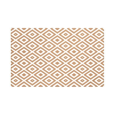 Elson Geometric Print Throw Blanket Size: 60 L x 50 W, Color: Caramel (Brown/Off White)