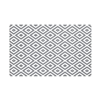 Elson Geometric Print Throw Blanket Size: 60 L x 50 W, Color: Steel Gray (Dark Gray/Off White)