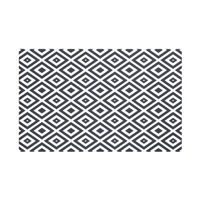 Elson Geometric Print Throw Blanket Size: 60 L x 50 W, Color: Bewitching (Navy Blue/Off White)