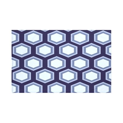 Blane Geometric Print Throw Blanket Size: 60 L x 50 W, Color: Bewitching (Navy Blue/ Light Blue)