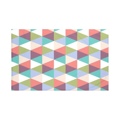 Helios Geometric Print Throw Blanket Size: 60 L x 50 W, Color: Jade (Aqua/Coral)