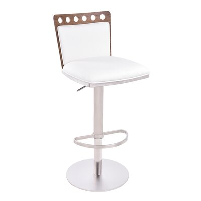Kang Adjustable Height Swivel Bar Stool with Cushion Upholstery: White