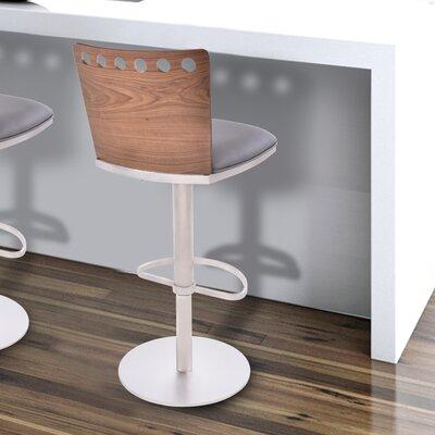 Kang Adjustable Height Swivel Bar Stool with Cushion Upholstery: Gray
