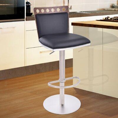 Kang Adjustable Height Swivel Bar Stool with Cushion Upholstery: Black