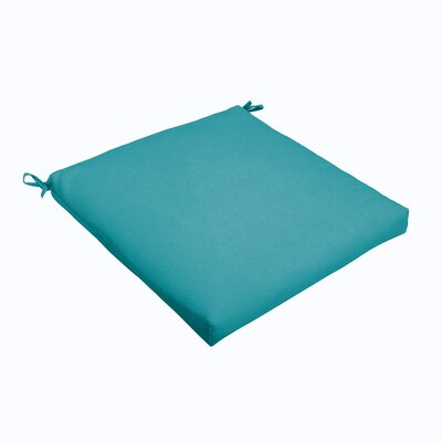 Outdoor Dining Chair Cushion Color: Aqua Blue, Size: 19 L x 19 W