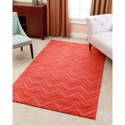 Gilmore Orange Geometric Wool Hand-Tufted Area Rug