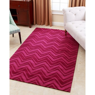 Karcher Hand-Tufted Dark Pink Area Rug Rug Size: 3 x 5