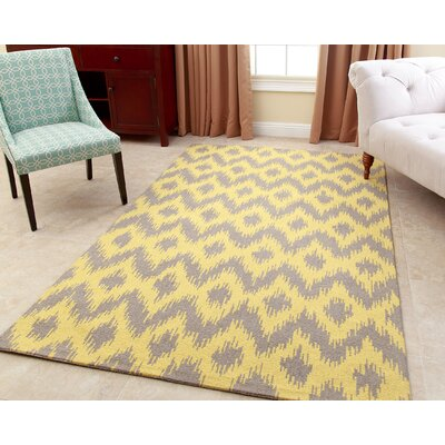 Kania Hand-Tufted Dijon Yellow Area Rug Rug Size: 3 x 5