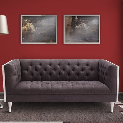 Kaneshiro Chesterfield Sofa Upholstery: Charcoal