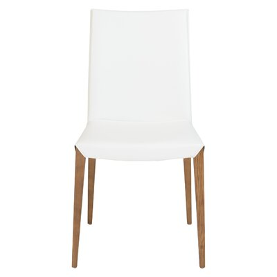 Fontaine Genuine Leather Upholstered Dining Chair Upholstery: White