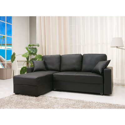 Keshawn Sleeper Sectional Upholstery: Black