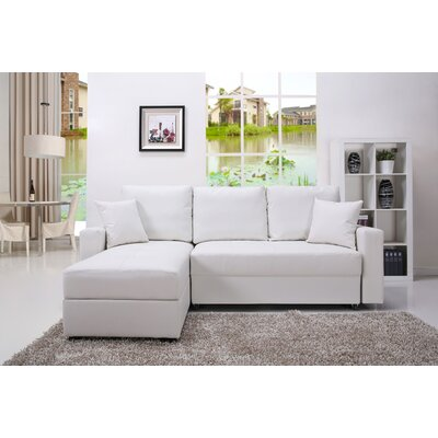 Keshawn Sleeper Sectional Upholstery: White