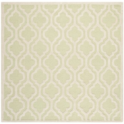 Harbin Light Green / Ivory Area Rug Rug Size: Square 6