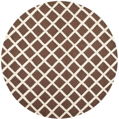 Harbin Dark Brown/Ivory Area Rug Rug Size: Round 6