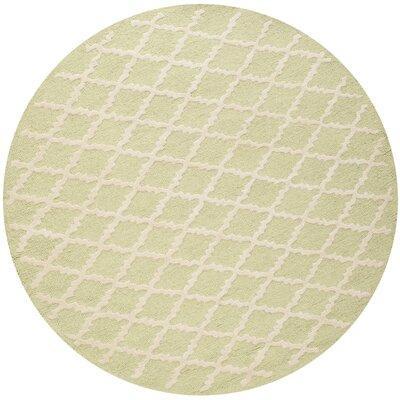 Harbin Light Green / Ivory Area Rug Rug Size: Round 6