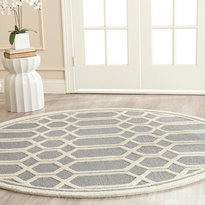 Harbin Gray / Ivory Area Rug Rug Size: 6 Round