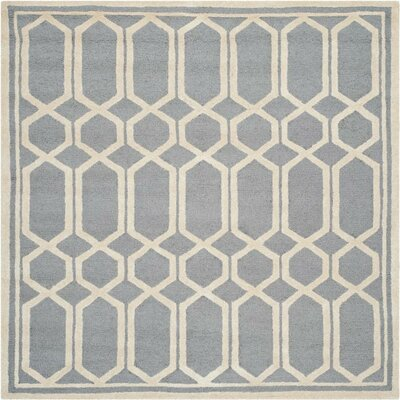 Harbin Hand-Tufted Gray/Ivory Area Rug Rug Size: 6 Square