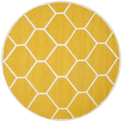 Martins Hand-Tufted Wool Gold/Ivory Area Rug Rug Size: Round 6