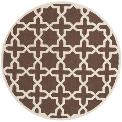 Harbin Dark Brown/Ivory Area Rug Rug Size: Round 8