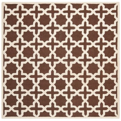 Brunswick Wool Brown/Ivory Area Rug Rug Size: Square 8