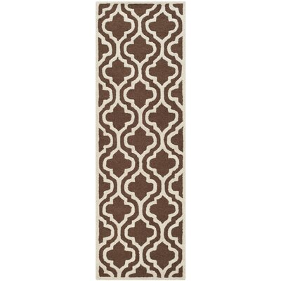 Martins Dark Brown/Ivory Area Rug Rug Size: Runner 26 x 14