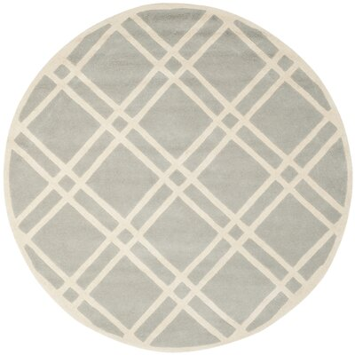 Wilkin Hand-Tufted Wool Gray/Ivory Rug Rug Size: Round 7