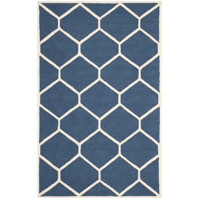 Martins Hand-Tufted Wool Navy Blue Area Rug Rug Size: Rectangle 6 x 9