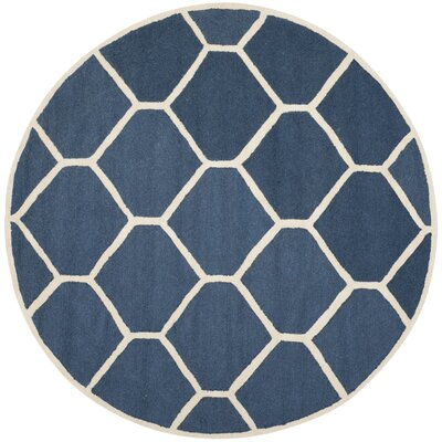 Martins Hand-Tufted Wool Navy Blue Area Rug Rug Size: Round 6