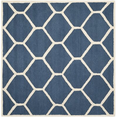 Harbin Navy Blue / Ivory Area Rug Rug Size: Square 6