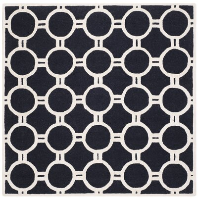 Martins Hand-Tufted Wool Black/Ivory Area Rug Rug Size: Square 6