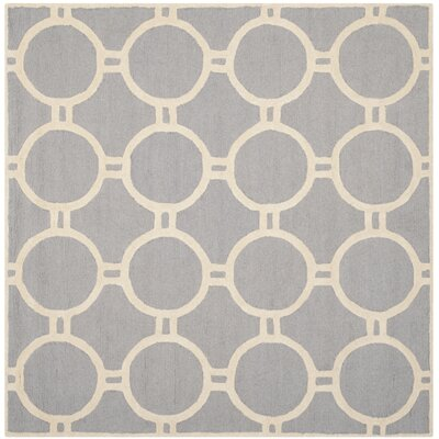 Martins Hand-Tufted Wool Silver/Ivory Area Rug Rug Size: Square 8