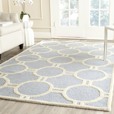 Harbin Light Blue/Ivory Area Rug Rug Size: 2 x 3