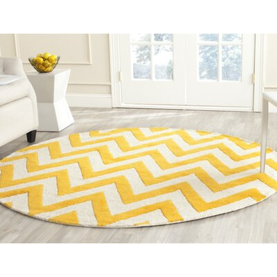 Harbin Gold/Ivory Area Rug Rug Size: 6 x 6 Square