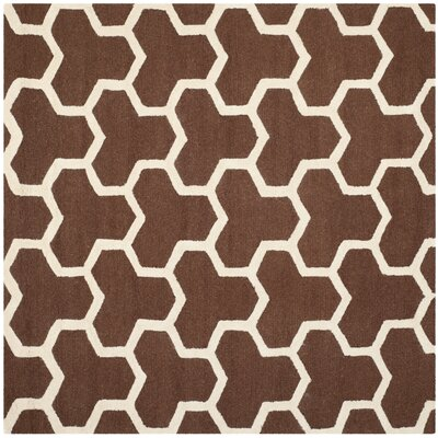 Martins Hand-Tufted Wool Brown/Ivory Area Rug Rug Size: Square 6
