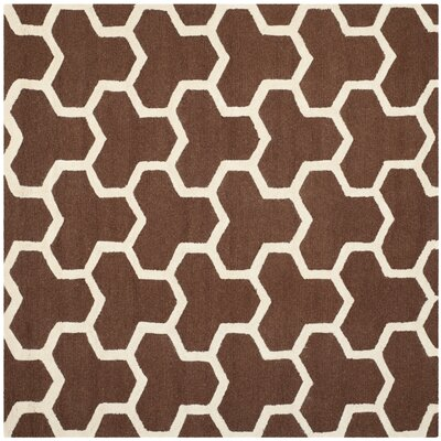 Martins Hand-Tufted Wool Brown/Ivory Area Rug Rug Size: Square 8