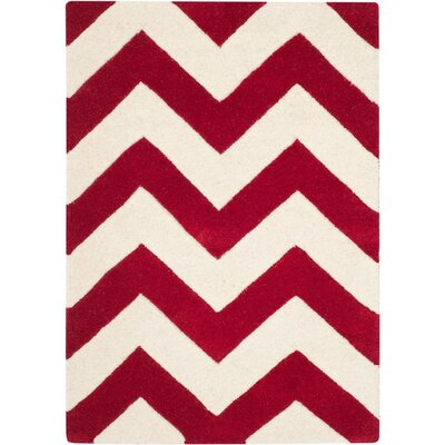 Averett Hand-Tufted Red/Ivory Area Rug Rug Size: Rectangle 6 x 9