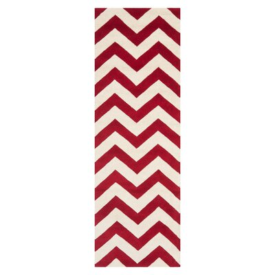 Averett Hand-Tufted Red/Ivory Area Rug Rug Size: Runner 23 x 7