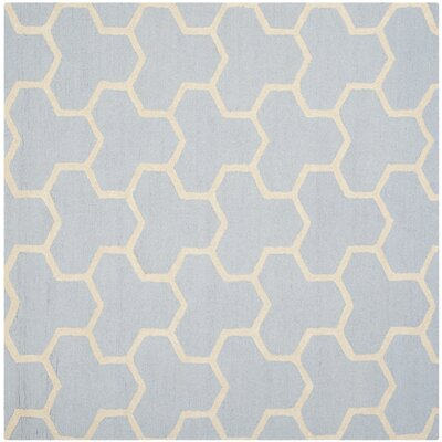 Harbin Light Blue/Ivory Area Rug Rug Size: Square 6