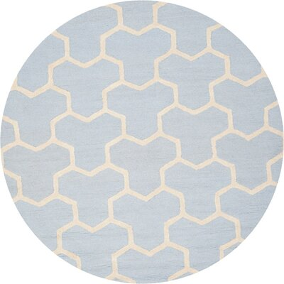 Harbin Light Blue/Ivory Area Rug Rug Size: 6 Round